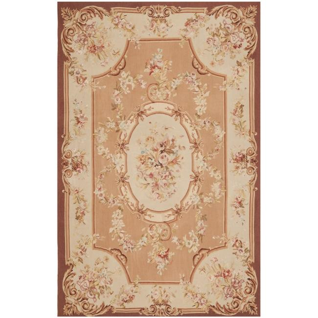 Hand-knotted French Aubusson Peach Wool Rug (9' x 12')