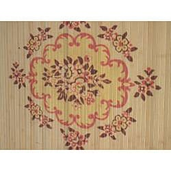 Asian Hand-crafted Persian-style Yellow Bamboo Rug (4' x 6')