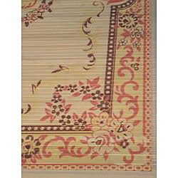 Asian Hand-crafted Persian-style Yellow Rayon from Bamboo Rug (4' x 6')