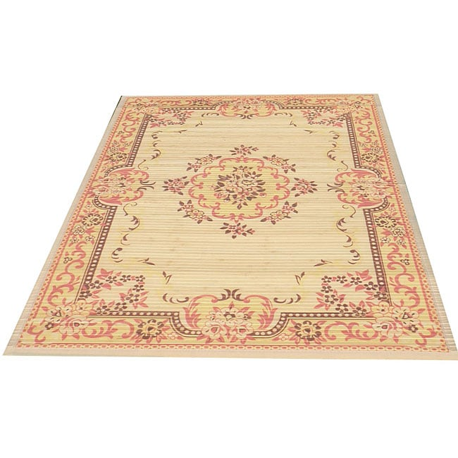 Asian Handcrafted Persian-style Rayon from Bamboo Rug (5' x 8')