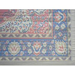 Asian Hand-crafted Persian-style Salmon/ Navy Rayon from Bamboo Rug (4' x 6')