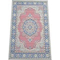 Asian Hand-crafted Persian-style Salmon/ Navy Bamboo Rug (4' x 6')