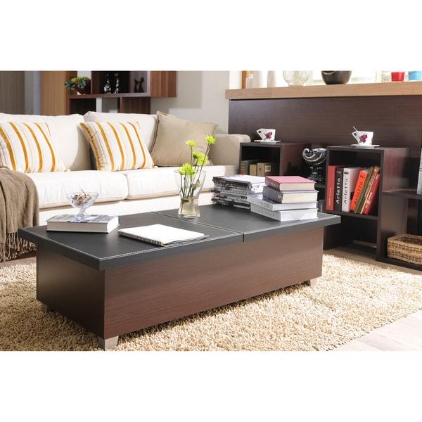 Furniture of America Numero Leatherette Top Coffee Table