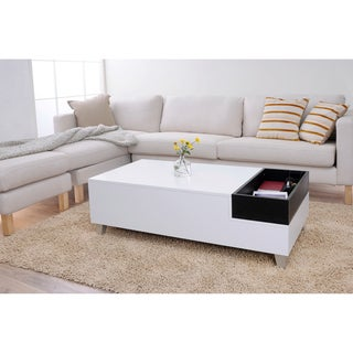 Furniture of America June White Coffee Table with Serving Tray