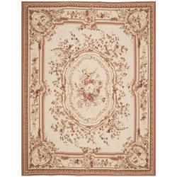 Traditional Hand-Knotted French Aubusson Ivory Wool Rug (10' x 14')