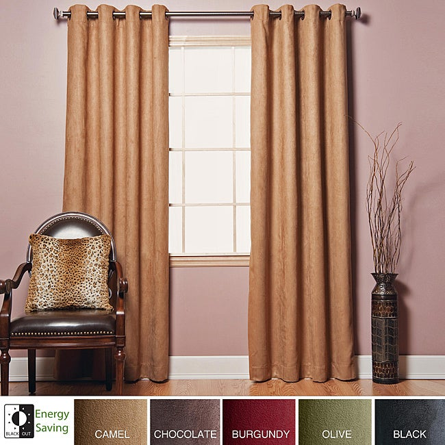 Faux Suede Grommet 84-inch Insulated Blackout Curtain Pair at Sears.com