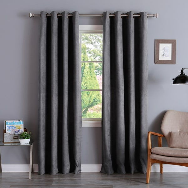 Faux Suede Grommet 84-inch Insulated Blackout Curtain Pair