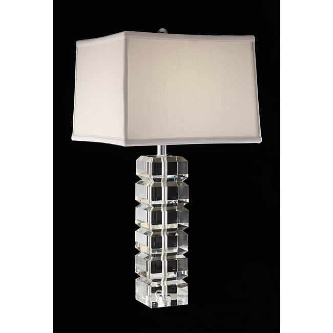 squared block 3 way crystal and chrome table lamp. Black Bedroom Furniture Sets. Home Design Ideas