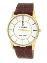 Le Chateau Men's Classica Diamond Brown Leather Slim Watch