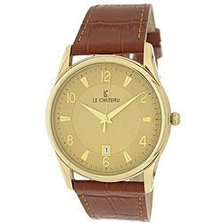 Le Chateau Men's '7077M' Classica Collection Textured-dial Leather-strap Watch