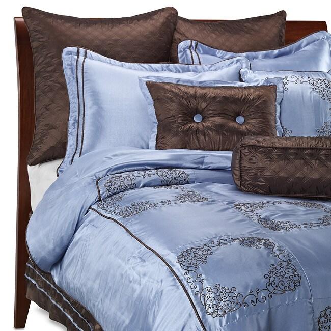 Chocolate Brown/ Blue Oversize 9-piece Comforter Set