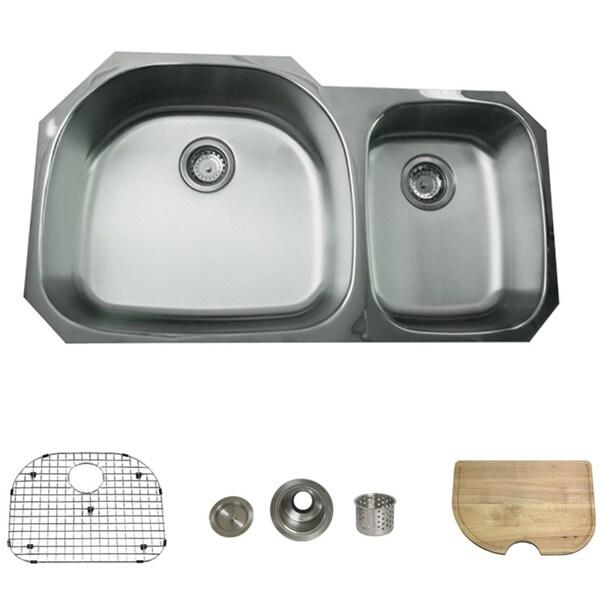 Stainless Steel 38-inch Undermount 70/30 2-bowl Kitchen Sink