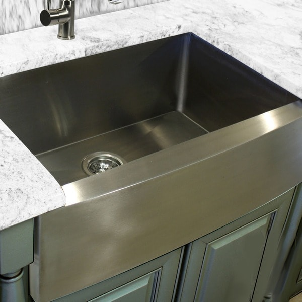 Farmhouse Stainless Steel Kitchen Sink : Hardy Apron Farmhouse Sink Single Bowl Stainless Steel Kitchen Sink