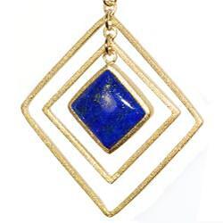 Adee Waiss 18k Yellow Gold Overlay Lapis Lazuli Triple Square Earrings