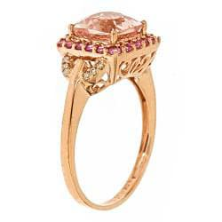 Anika and August 10k Rose Gold Morganite, Sapphire and 1/10ct TDW Diamond Ring (I-J, I1-I2)