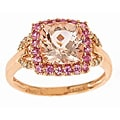 D'Yach 10k Rose Gold Morganite, Sapphire and 1/10ct TDW Diamond Ring (I-J, I1-I2)