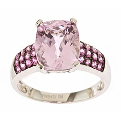 D'Yach 10k White Gold Kunzite and Pink Sapphire Ring