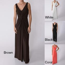 Party Line Women's Sleeveless V-neck Maxi Evening Dress
