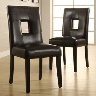 TRIBECCA HOME Mendoza Black Keyhole Back Dining Chair (Set of 2)