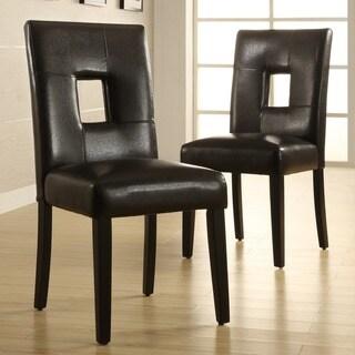TRIBECCA HOME Mendoza Black Keyhole Back Dining Chair (Set of 2)
