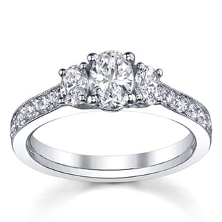 14k White Gold 1 1/2ct TDW Diamond Oval 3-Stone Engagement Ring (H-I, SI1-SI2)