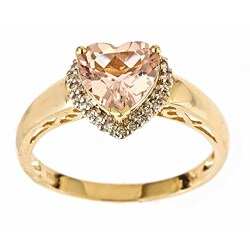 D'Yach Yellow Gold Morganite and 1/10ct TDW Diamond Ring (I-J, I1-I2)