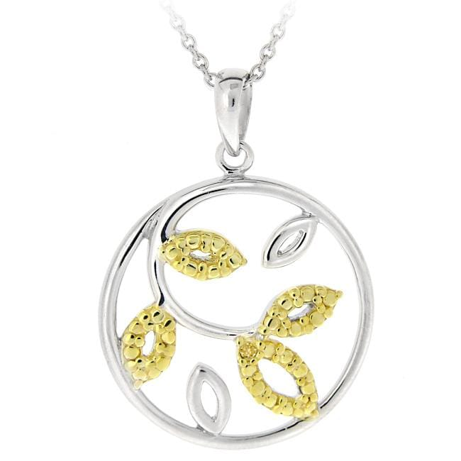 DB Designs 18k Gold Over Silver Yellow Diamond Accent Leaf Necklace