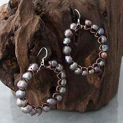 Silver and Copper FW Black Pearl Dangle Earrings (4-5 mm) (Thailand)