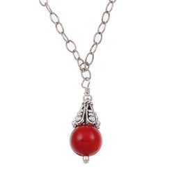 Charming Life Sterling Silver Red Sea Bamboo Coral Necklace