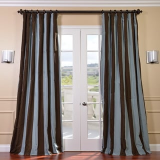 Signature Stripe Chocolate/ Blue Faux Silk Taffeta Curtain Panel (84 in.)