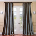 Signature Stripe Chocolate/ Blue Faux Silk Taffeta Curtain Panel (50 in. x 96 in.)