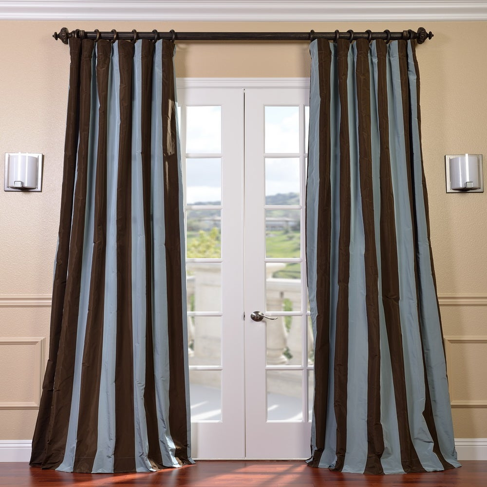 EFF Signature Stripe Chocolate/ Blue Faux Silk Taffeta Curtain Panel at Sears.com