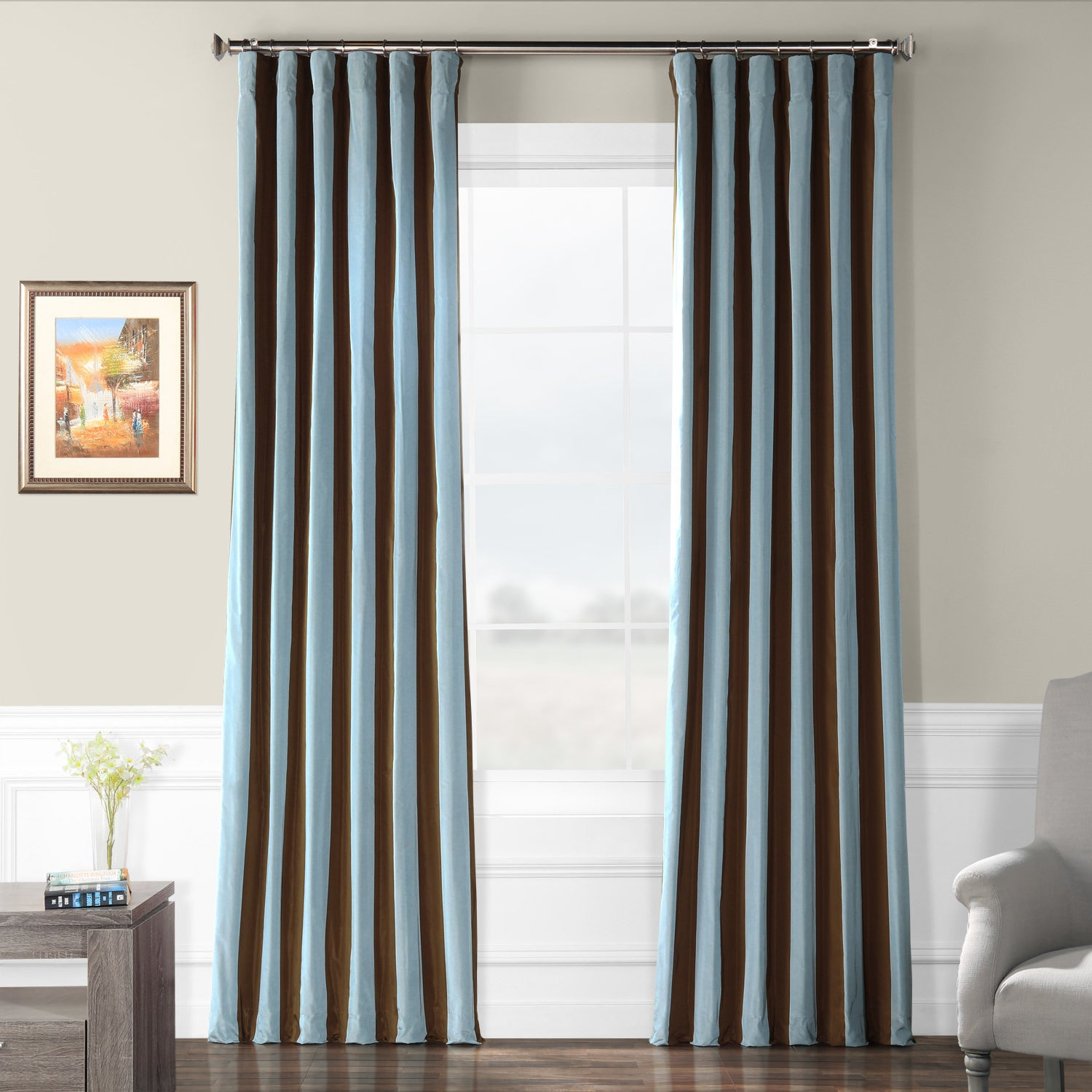 Signature Stripe Chocolate/ Blue Faux Silk Taffeta Curtain Panel (50 in. x 108 in.) at Sears.com
