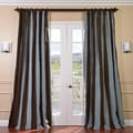 Signature Stripe Chocolate/ Blue Faux Silk Taffeta Curtain Panel (50 in. x 120 in.)