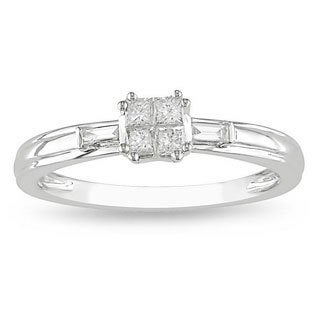 Miadora 10k White Gold 1/3ct TDW Diamond Ring (H-I, I2-I3)