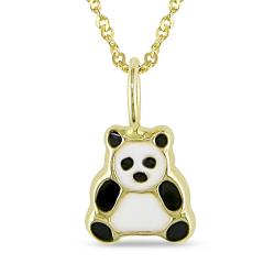 Miadora 14k Yellow Gold Panda Bear Baby Necklace