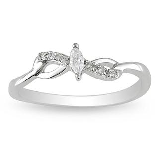 Miadora 10k Gold 1/10ct TDW Marquise Twist Diamond Ring (H-I, I2-I3)