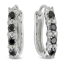 Miadora 10k White Gold 1/2ct TDW Black and White Diamond Earrings (H-I, I2-I3)