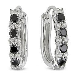 Miadora 10k White Gold 1/2ct TDW Black and White Diamond Earrings (H-I, I2-I3)