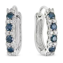 Miadora 10k White Gold 1/2ct TDW Blue and White Diamond Earrings (H-I, I2-I3)