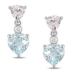 Miadora 10k White Gold Blue Topaz, Morganite, and Diamond Accent Earrings