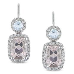 Miadora 10k Gold Morganite Blue Topaz 1/4ct TDW Diamond Earrings (H-I, I2-I3)