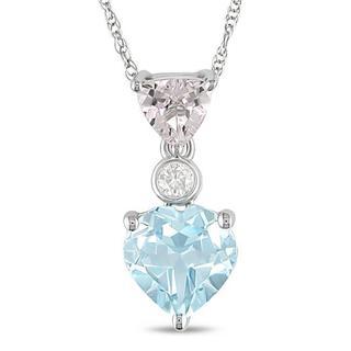 Miadora 10k White Gold Blue Topaz, Morganite, and Diamond Accent Necklace