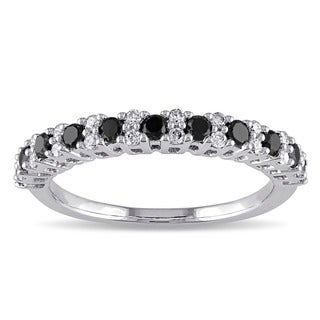 Miadora 10k Gold 1/2ct TDW Black and White Diamond Eternity Ring