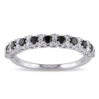 Miadora 10k Gold 1/2ct TDW Black and White Diamond Semi-Eternity Ring (Black)