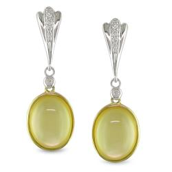 Miadora 10k Two-tone Gold Crystal and Diamond Accent Earrings