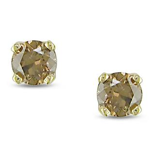 Haylee Jewels 10k Yellow Gold 1/4ct TDW Brown Diamond Stud Earrings
