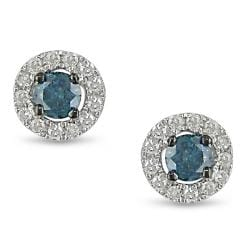 Miadora 10k White Gold 1/4ct TDW Blue and White Diamond Earrings (H-I, I1-I2)