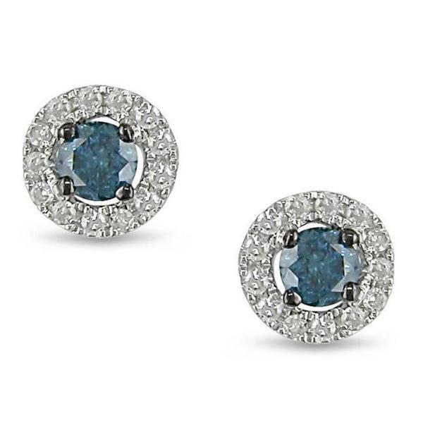 Miadora 10k White Gold 1/4ct TDW Blue and White Diamond Earrings (H-I, I1-I2)