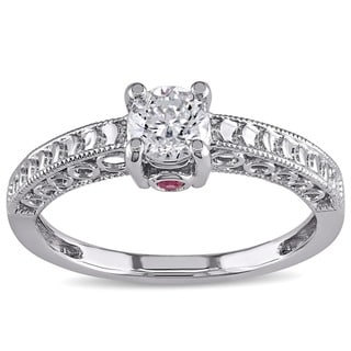 L'Amour Enrose by Miadora 14k White Gold 1/2ct TDW Diamond and Pink Sapphire Accent Ring with Bonus Earrings